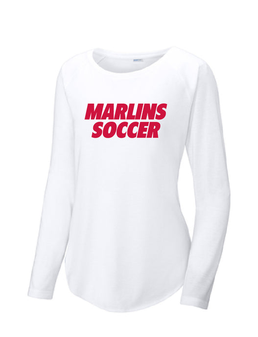 Ladies Long Sleeve Tri-Blend Scoop Neck Raglan Tee / White / Bayside High School Soccer