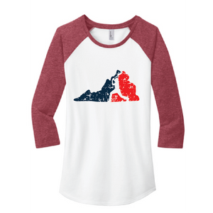 Women's Fitted 3/4-Sleeve Raglan Tee  / Heather Red & White / Fidgety