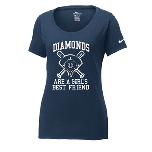 Diamonds Baseball Nike Ladies Cotton Scoop Neck Tee / Navy / Fidgety - Fidgety