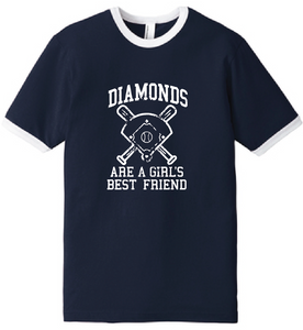 Diamonds Baseball Fine Jersey Ringer T-Shirt  / Navy & White / Fidgety