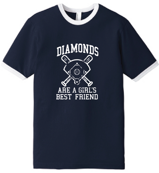 Diamonds Baseball Fine Jersey Ringer T-Shirt  / Navy & White / Fidgety - Fidgety