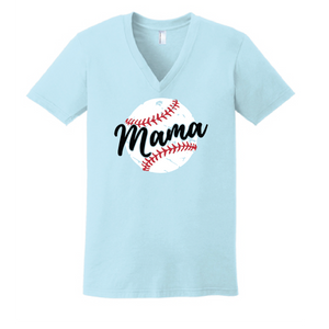 Baseball Mama Fine Jersey V-Neck T-Shirt  / Light Blue / Fidgety - Fidgety