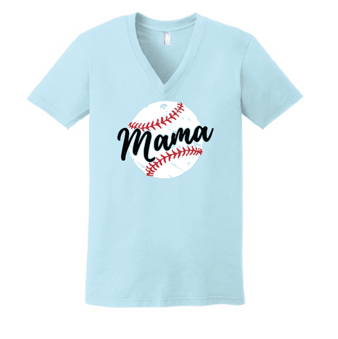 Baseball Mama Fine Jersey V-Neck T-Shirt  / Light Blue / Fidgety