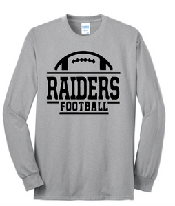 Raiders Football Long Sleeve Shirt / Gray / Bayside Football - Fidgety