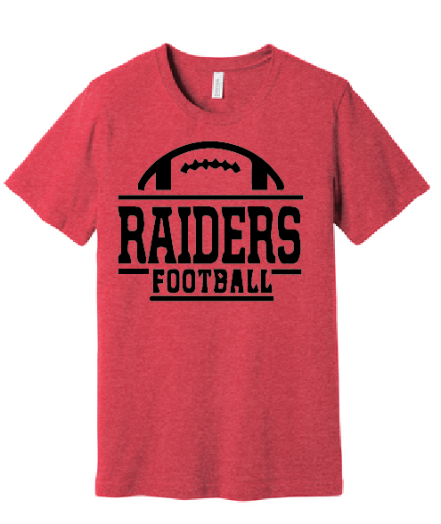 Raiders Short Sleeve Cotton T-Shirt / Heather Red / Bayside Football - Fidgety