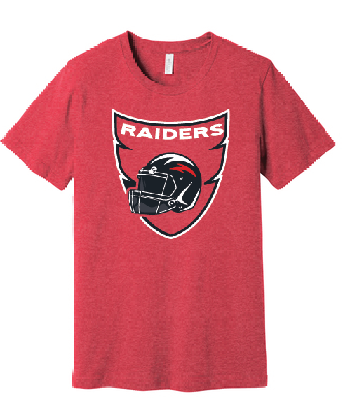 Bayside Short Sleeve Cotton T-Shirt / Heather Red / Bayside Football - Fidgety