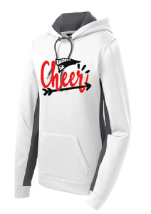 Cheer Sport-Wick Fleece  Hooded Pullover/ White & Gray / Bayside Cheer - Fidgety