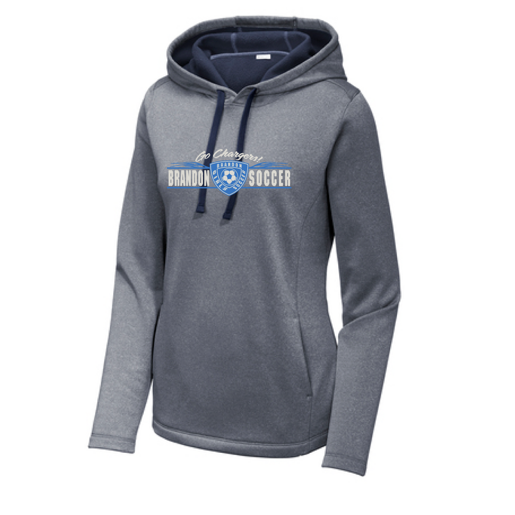 PosiCharge Wicking Fleece Hooded Sweatshirt / True Navy Heather / Brandon Girls Soccer - Fidgety