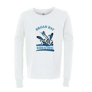 Long Sleeve Jersey Tee Shirt (Youth & Adult) / White / Broad Bay Swim - Fidgety