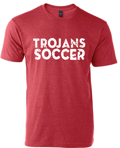 Trojans Soccer Crew Neck Soft Style T-Shirt / Heather Red / Center Grove Soccer
