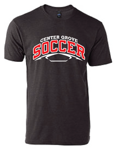 Trojans Soccer Crew Neck Soft Style T-Shirt / Charcoal Grey / Center Grove Soccer