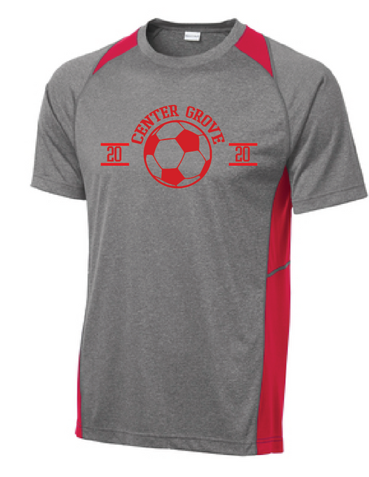 Heather Colorblock Performance Tee / Heather & Red / Center Grove Soccer