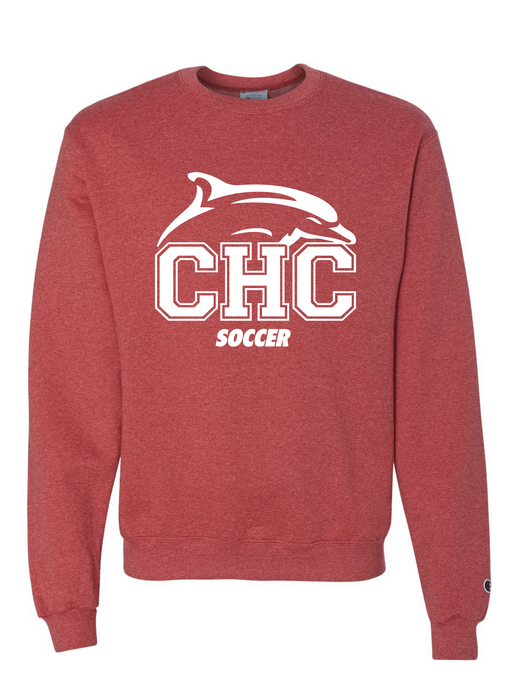Champion Crewneck Sweatshirt / Scarlet Heather  / Cape Henry Soccer - Fidgety