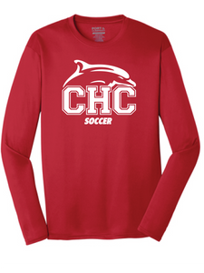 Long Sleeve Performance T-Shirt / Red / Cape Henry Soccer - Fidgety