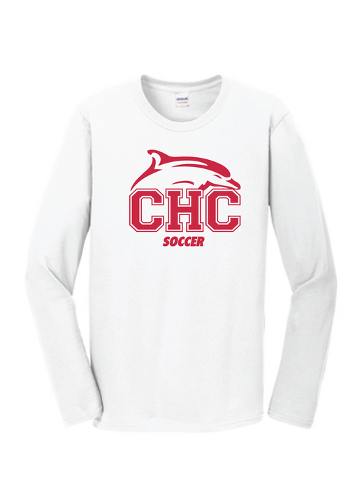 Long Sleeve Performance T-Shirt / White / Cape Henry Soccer - Fidgety