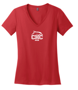 Women's Relaxed Jersey V-Neck Tee / Red / Cape Henry Soccer - Fidgety
