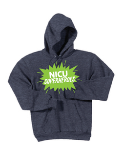 NICU Superhero Fleece Hooded Sweatshirt / Heather Navy Blue / CHKD NICU - Fidgety