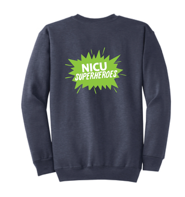 NICU Superhero Crew Sweatshirt / Heather Navy Blue / CHKD NICU - Fidgety