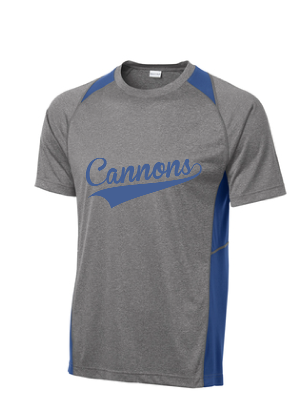 Heather Colorblock Contender Tee / Vintage Heather and True Royal / Coastal Cannons - Fidgety
