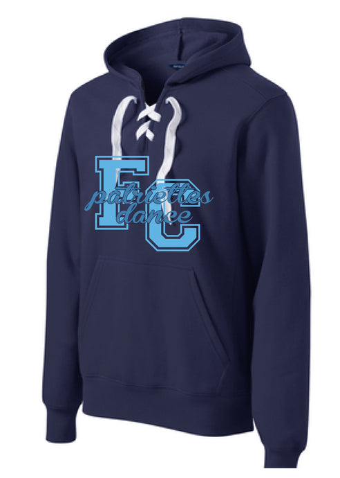 Lace Up Pullover Hooded Sweatshirt / Navy / FC Dance - Fidgety