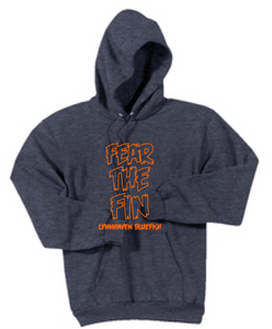 Fear The Fin - Fleece Hooded Sweatshirt / Heather Navy / LMS - Fidgety