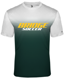 Unisex Crew Neck Ombre T-Shirt / Green & White / Great Bridge Soccer