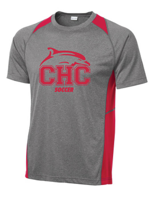 Heather Colorblock Performance Tee / Vintage Heather & Red / Cape Henry Soccer - Fidgety