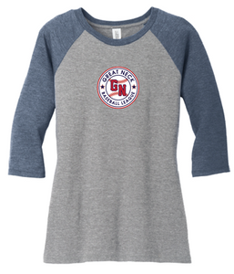 Women's Perfect Tri 3/4-Sleeve Raglan / Navy & Grey Frost / Great Neck Baseball