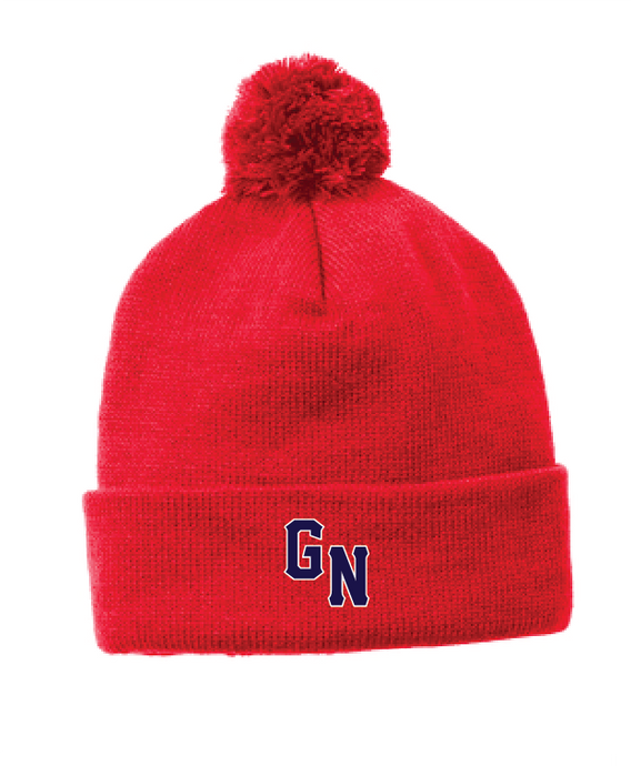 Heather Pom Pom Beanie / Red / Great Neck Baseball