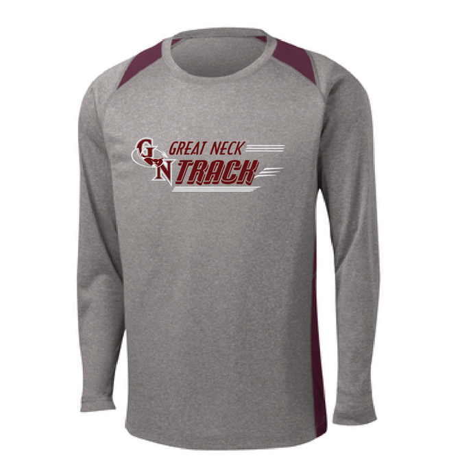 Long Sleeve Heather Colorblock Performance Tee / Vintage Heather and Maroon / Great Neck  Track - Fidgety