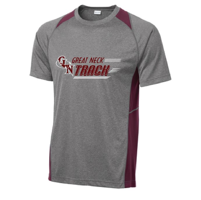 Heather Colorblock Performance Tee / Vintage Heather and Maroon / Great Neck  Track - Fidgety