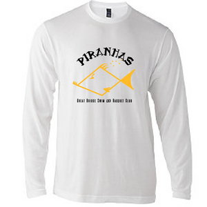 Adult Long Sleeve T-Shirt / White / Piranhas - Fidgety