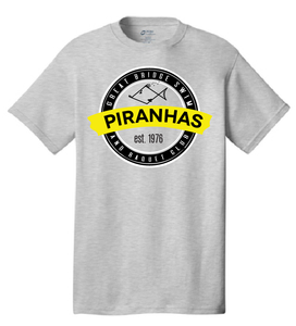 Anniversary Short Sleeve T-Shirt / Gray / Adult / Piranhas - Fidgety