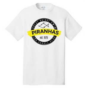 Anniversary Short Sleeve T-Shirt / White / Adult / Piranhas - Fidgety