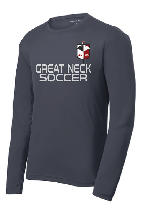 Long Sleeve Dri Fit T-Shirt / Gray / Great Neck Soccer - Fidgety