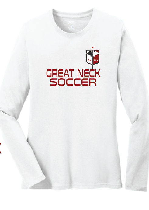 Long Sleeve Cotton T-Shirt / White / Great Neck Soccer - Fidgety