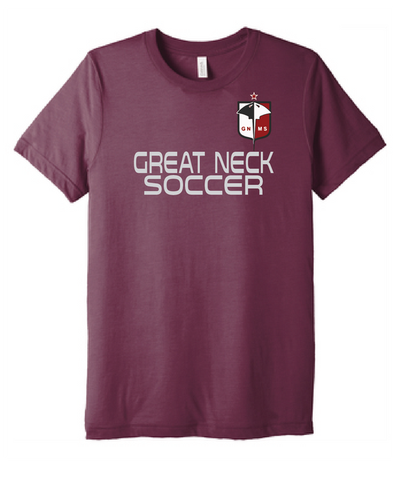 Short Sleeve Cotton T-Shirt / Heather Maroon / Great Neck Soccer - Fidgety