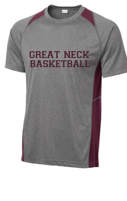 Performance Colorblock Contender Tee / Vintage Heather and Maroon / Great Neck Basketball