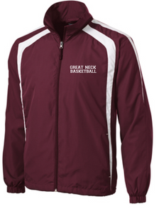 Tricot Warm Up Jacket  (Youth & Adult) / Maroon & White / Great Neck Basketball