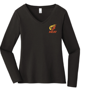 Ladies Long Sleeve softstyle V-Neck Tee / Black / Heat Baseball