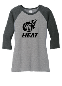 3/4-Sleeve Raglan Tee / Black Frost & Grey Frost /  Heat
