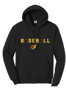 Baseball Fleece Hooded Sweatshirt (Youth & Adult) / Jet Black / Heat Baseball