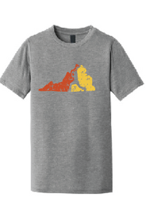 Virginia Softstyle Crew T-Shirt (Youth & Adult) / Athletic Heather / Heat Baseball