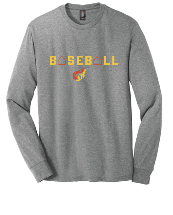 Baceball Triblend Long Sleeve Tee / Heather Grey / Heat Baseball