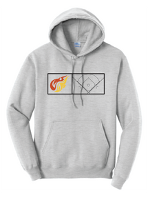Fleece Hooded Sweatshirt (Youth & Adult) / Ash / Heat Baseball
