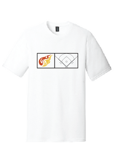 Baseball Softstyle Crew T-Shirt (Youth & Adult) / White / Heat Baseball