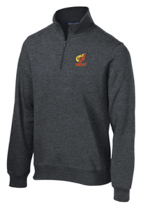 1/4-Zip Sweatshirt / Graphite Heather / Heat Baseball