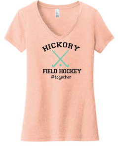 Softstyle V-Neck Short Sleeve Tee / Dusty Peach / Hickory Field Hockey - Fidgety