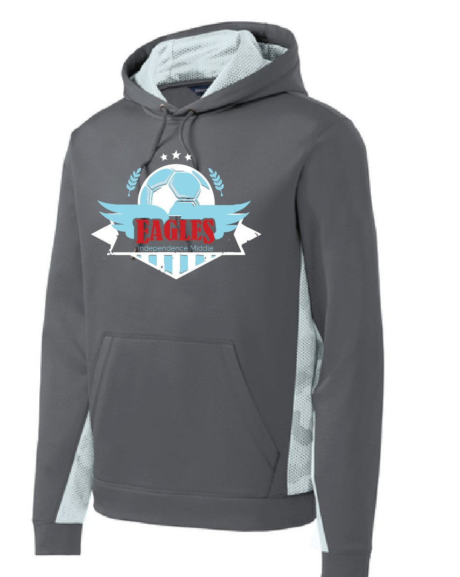 Lady Eagles Performance Fleece Hoody / Gray & White / Independence Middle - Fidgety