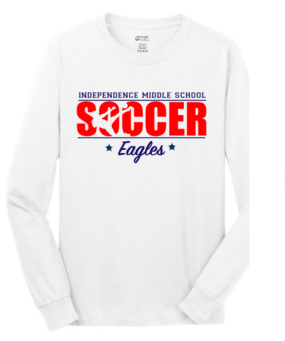 Long Sleeve Cotton T-Shirt / White / Independence Girls Soccer - Fidgety